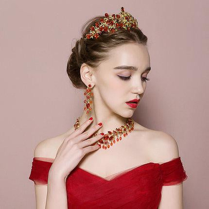 Baroque Vintage Gold Red Crystal Bridal Jewelry Sets Rhinestone Tiaras Crown Choker Necklace Earrings Set Wedding Accessories