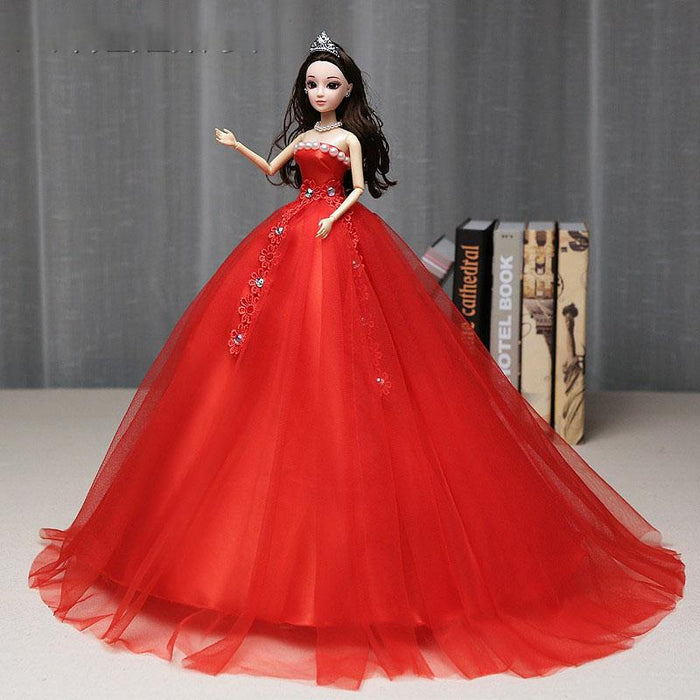 Fancy Lolita lace  Children's toy red flower pearl diamond Barbie doll