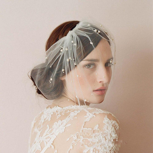 Fancy pastel lace bridal wedding short veil half pearl bridal veil