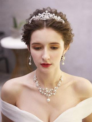 Pearl Crystal Tiaras And Crowns For Bride necklace and earring
