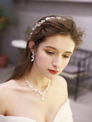 Flower hair band Sen Xianmei white wedding hair accessories Gold Bridal Tiara, Wedding Tiara, Gold Bridal Crown, Gold Leaf Crown, Rhinestone Crown, Bride Tiara