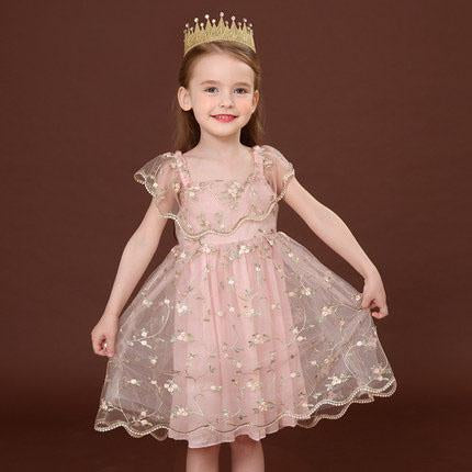 Fairy Pastel Lace Children's embroidered floral pink cake fluffy dress