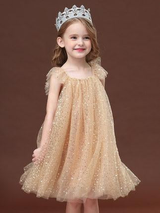 Fairy Girl' Lacy bowknot luxe high waist dress summer dress fluffy tulle skirt