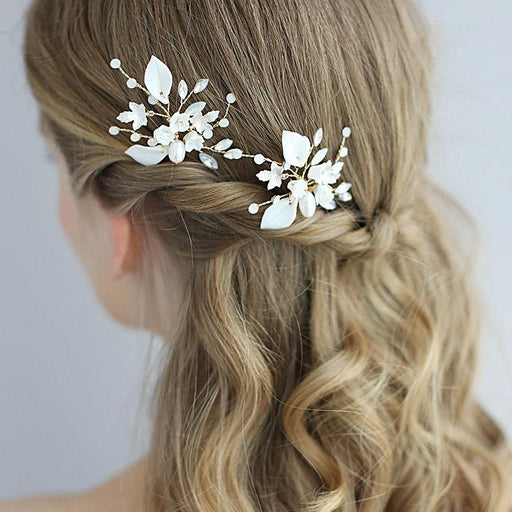 Bridal hair accessories ceramic handmade hairpin wedding plate hair u-shaped plug decoration