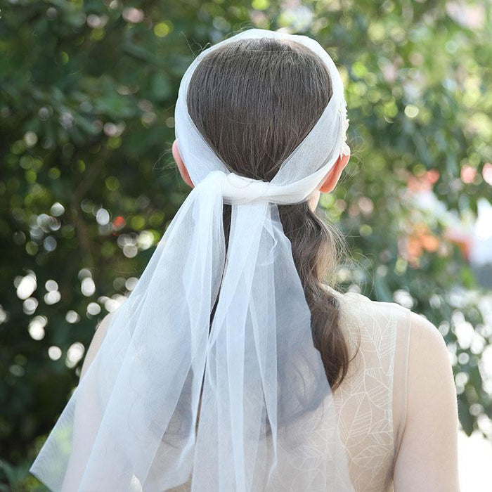 handmade embroidery bridal veil Europe and the United States white bow wedding headdress manufacturers direct supply