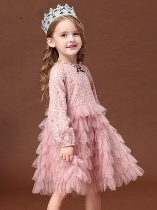 Fancy sweet lace little girl pink bow embroidered princess lantern long sleeve dress
