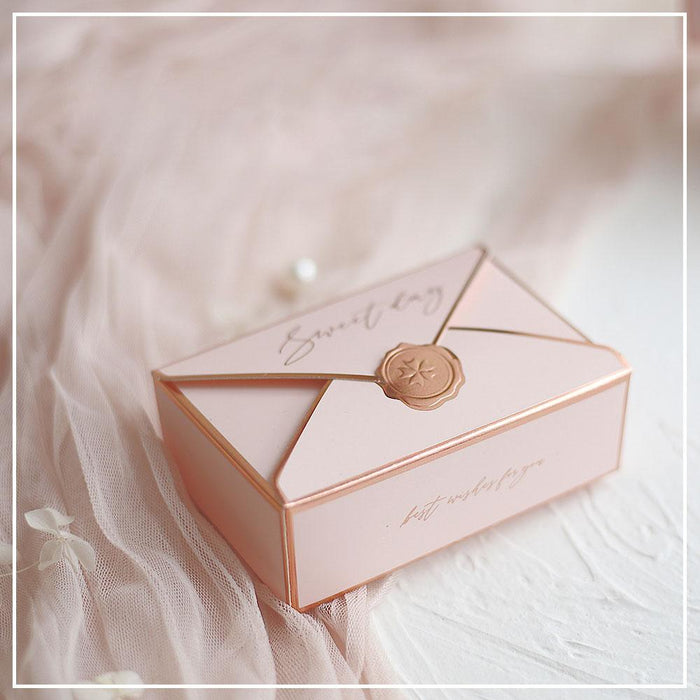 Pink Envelope Letter Wedding Favor Box, Wedding Gift Boxes, Birthday Candy Box, Chocolate Box, Cake Box