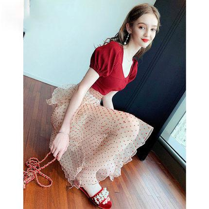 Fancy Girly Lace Temperament floral skirt two-piece suit