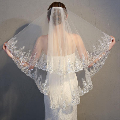 Ivory Cathedral Wedding Veil with Gold Lace Bridal Veil Handmade Embroidery Lace Veil Chapel Wedding Veil One Tier Champagne Wedding Veil