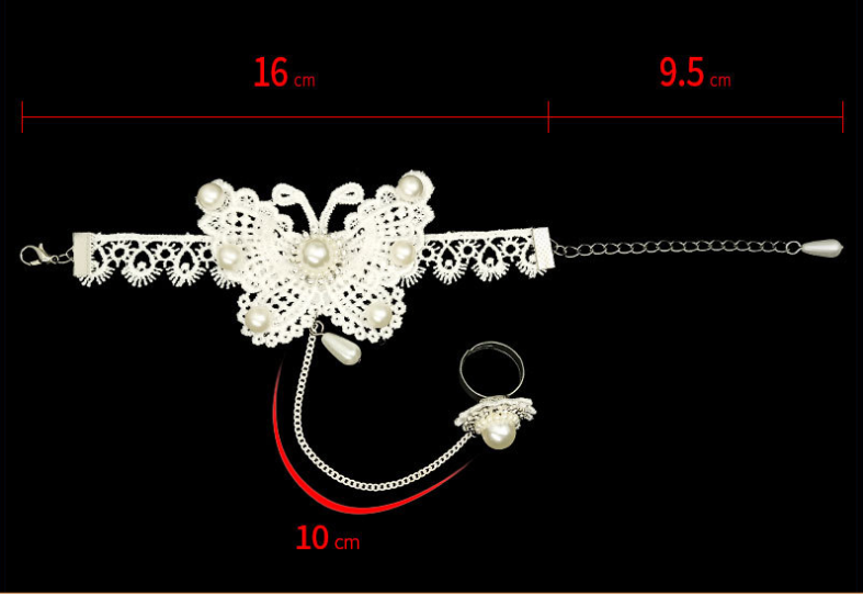 Fairy Pastel Lace Bride white pearl lace bracelet butterfly with ring in one