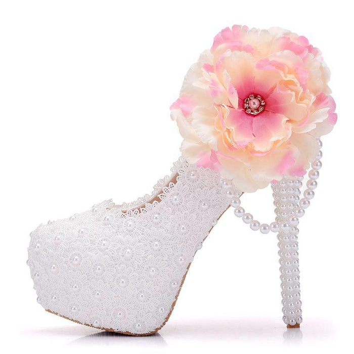 Bridal Heels - lace  Beads Flower