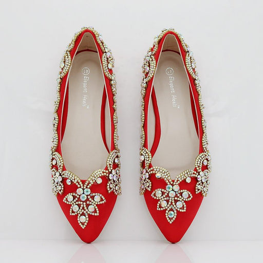 Wedding Flats  -Red Rhinestone