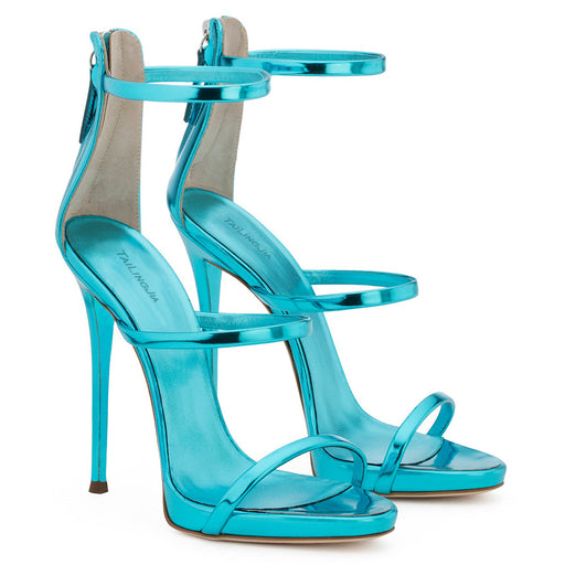 Prom Sapphire Blue High Heel Patent Leather Sandals