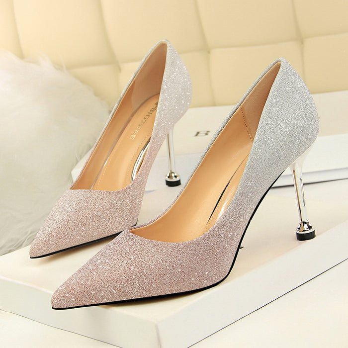 Shallow mouth pointed shiny color gradient color matching shoes high heels