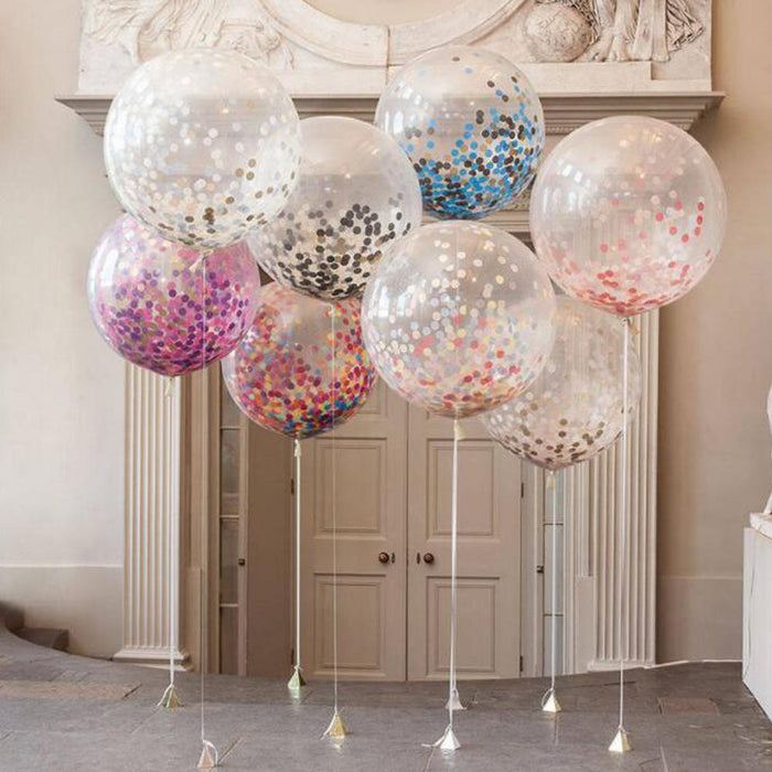 36 inch round transparent latex paper balloon party wedding colorful round confetti balloon