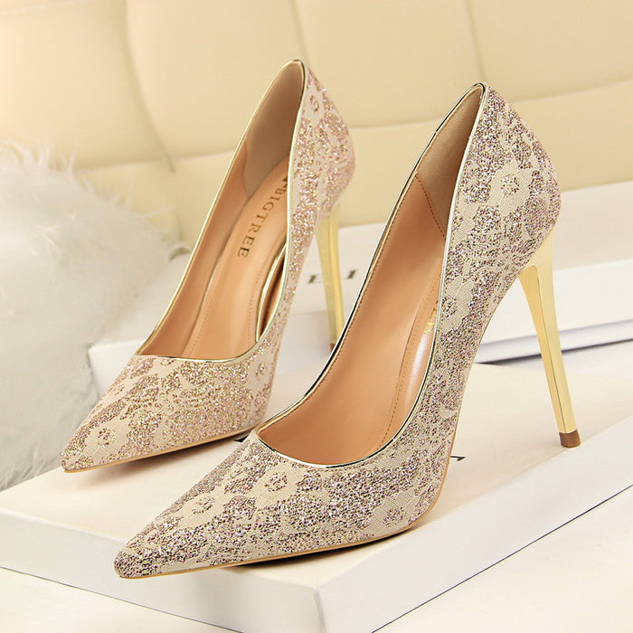 Sexy high heel shallow mouth pointed lace wedding shoes