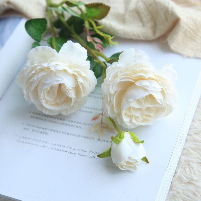 Comfyee White Weddings Bouques DIY Realistic Cabbage Rose Silk Flower