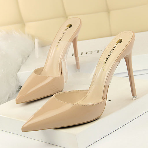 High-heeled Baotou shallow mouth transparent word with pointed sandals and slippers