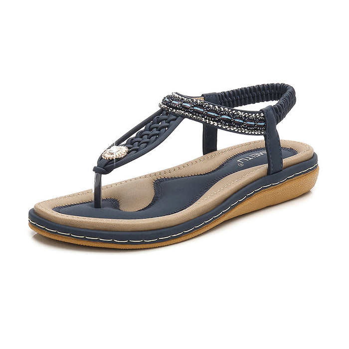 Woven Sunflower Crystal Clip-On Flip-Flop Sandals