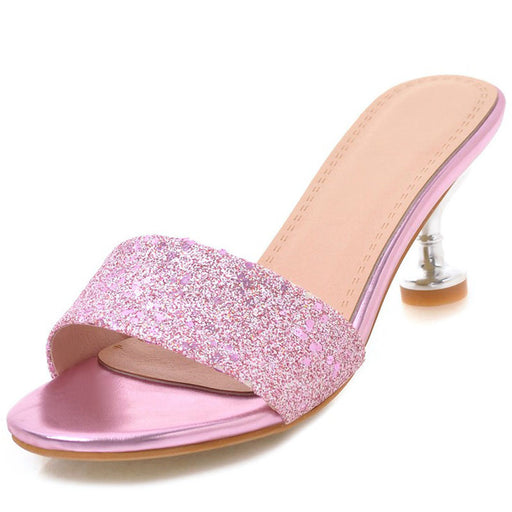Glitter Golden  Low Heels Sandals