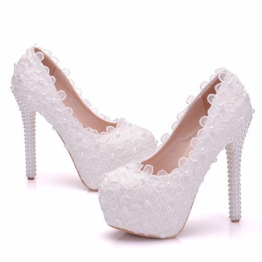 Bridal  Heels -Lace Pearl
