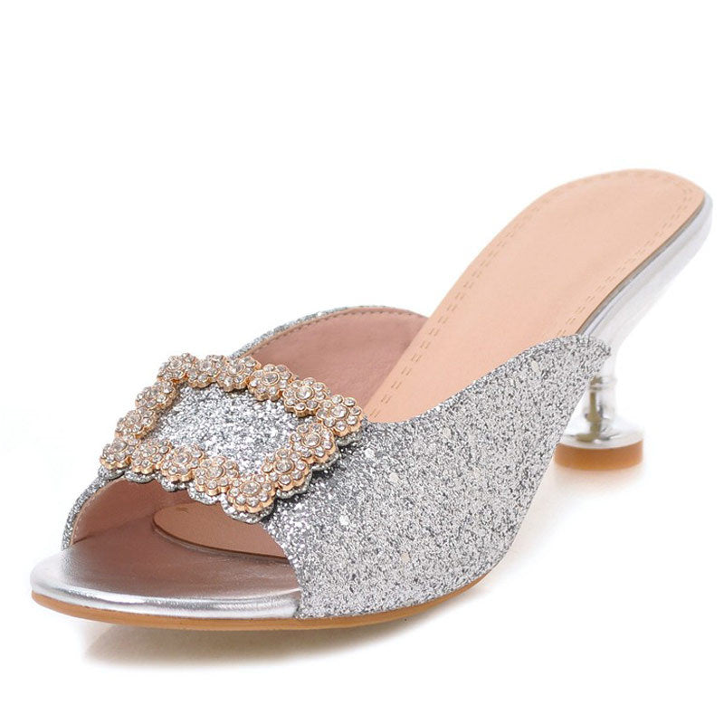 Red  Glitter fragrant buckle rhinestone slippers