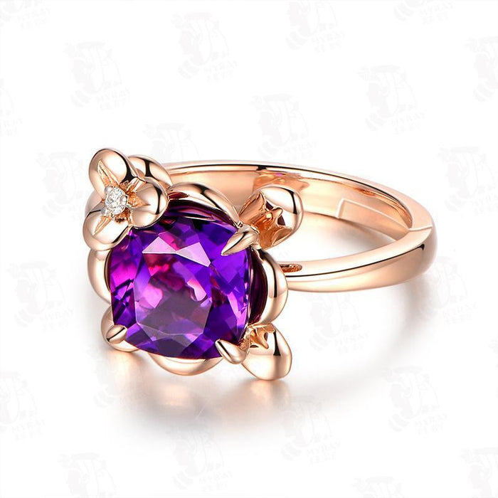 Temperament amethyst women's birthday ring