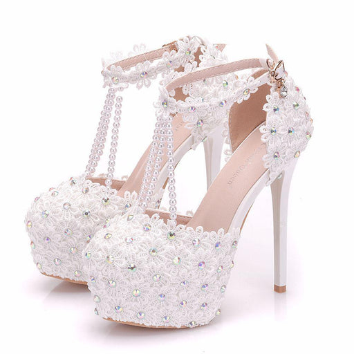 Bridal  Heels - Lace Beads