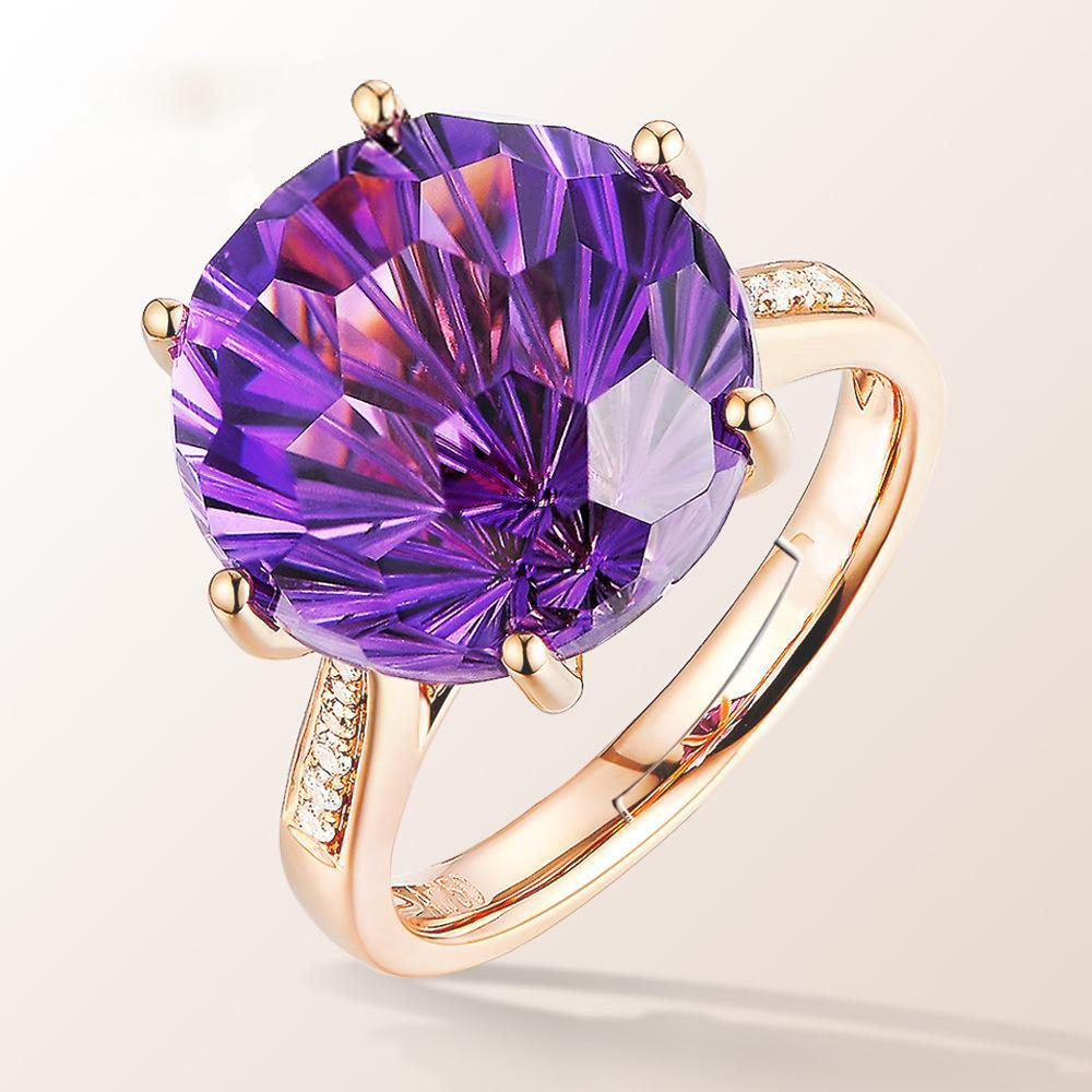 Turtle face six claws amethyst women's birthday ring