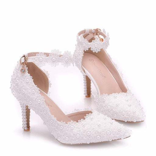 Bridal Heels - White Lace  Pearl