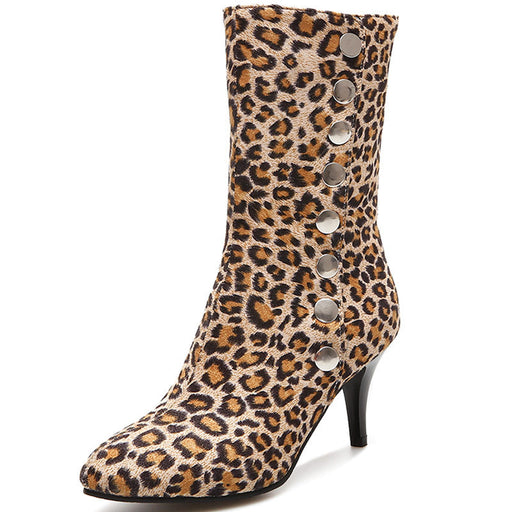 Party Leopard Sparkly Low Heels Ankle Boots