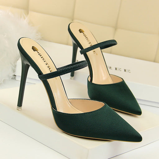 Baotou shallow mouth pointed satin sandals