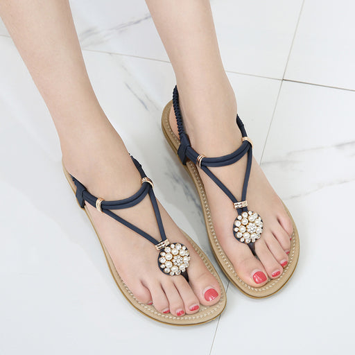 Pearl Diamond Buckle Flat Sandals