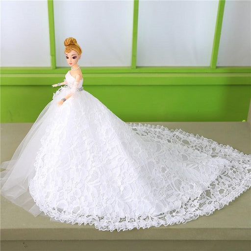 Fariy Girl toy flower lace White  tail wedding dress Barbie