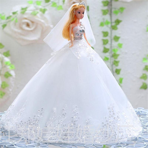 Fancy Pastel lace children's toy white Qidi wedding embroidered Barbie doll