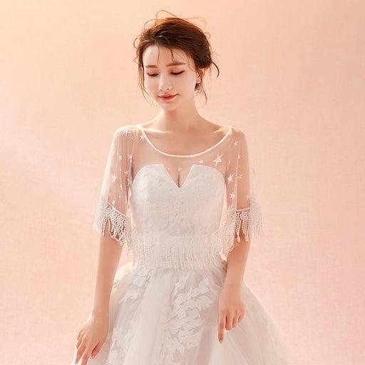 Bridal wedding wedding star lace shawl gauze cape tassel coat
