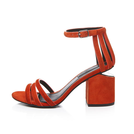 Bridal Block Heel Open Toe Orange Pumps Sandals