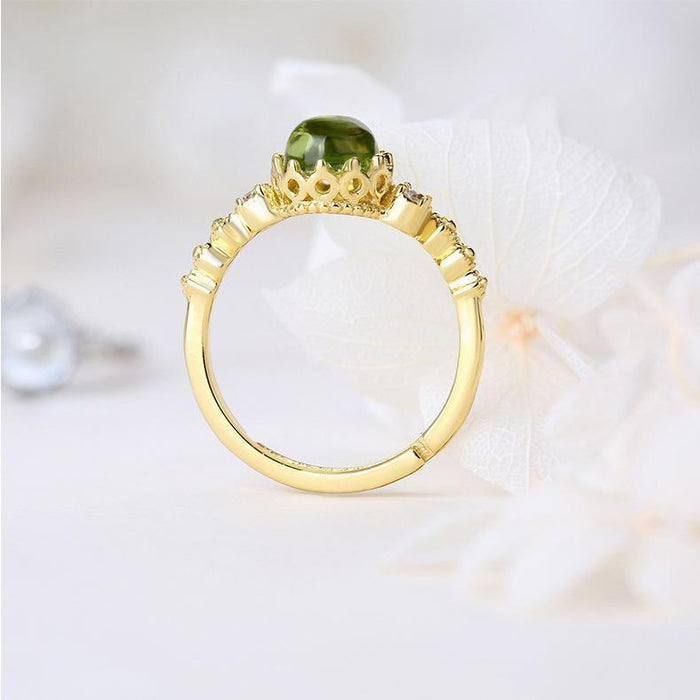 Vintage lace hollows peridot women's birthday ring