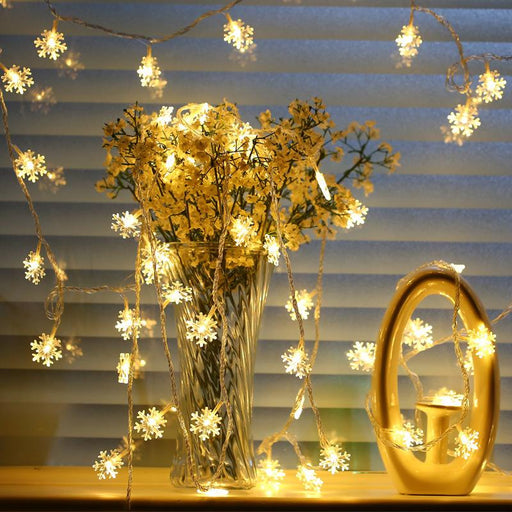 Stars and snowflakes Christmas small lights string LED electronic lights hanging string Christmas decoration lights shooting photo props
