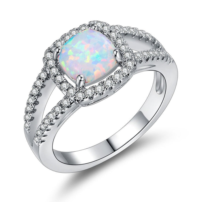 S925 sterling silver opal ring with white opal