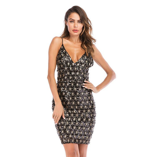 Slim gold nightclub sequins sexy deep V neck halter short dress