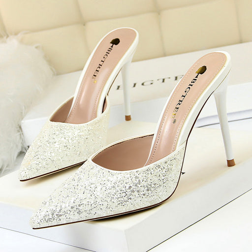 Metal heels with thin heels and high heels shallow mouth pointed sequins baotou slippers female sandals