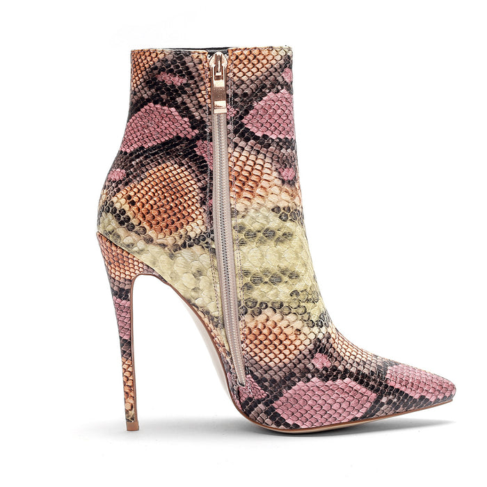 Snake - Sexy Serpentine Leather Ankle Boots