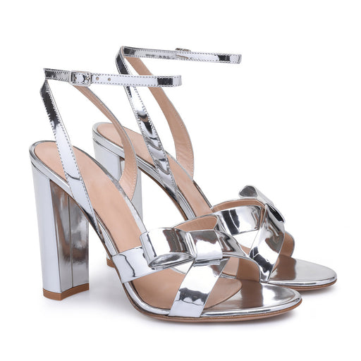 Night Club silver thick heel bow Pump Sandals