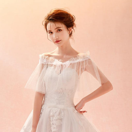 Bride wedding wedding wedding dress lace tulle shawl word shoulder accessories lace cover arm