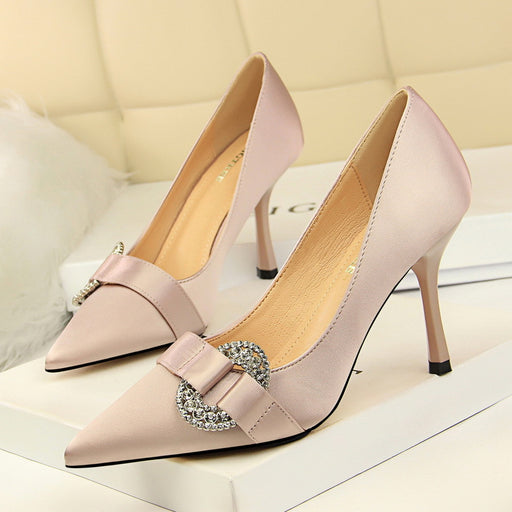 Fine heel satin shallow mouth pointed sexy banquet rhinestone buckle high-heeled shoes