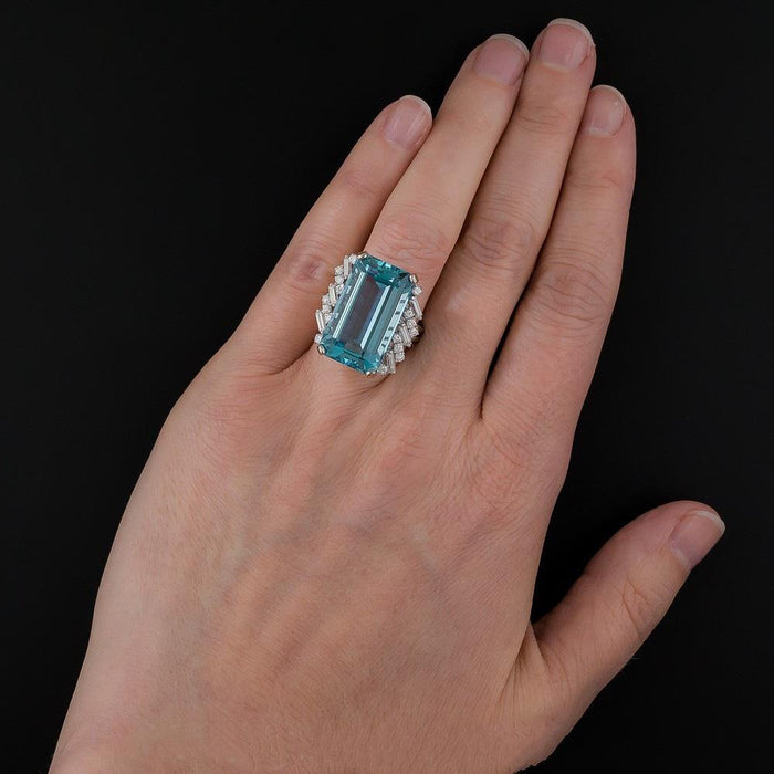 luxury aquamarine women's birthday ring