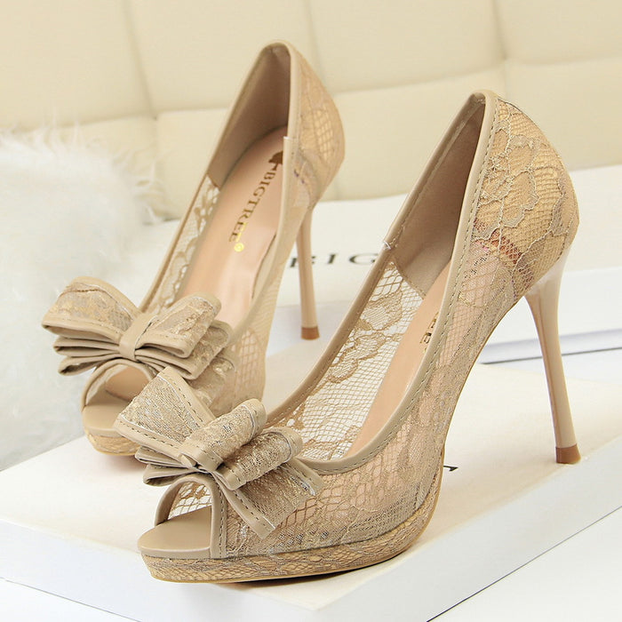 Sexy lace stiletto high-heeled shallow mouth fish mouth hollow mesh bow single shoes