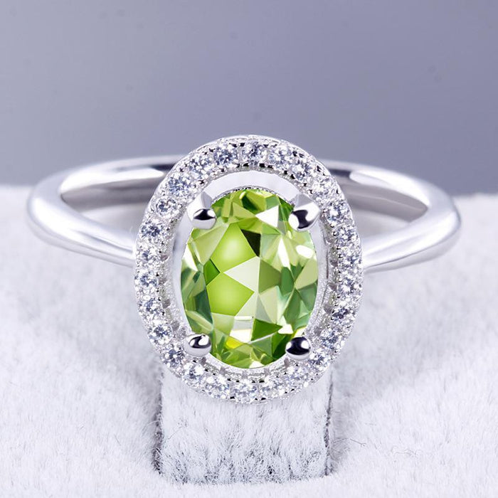 Stylish elegant and s925 sterling silver peridot women's birthday ring