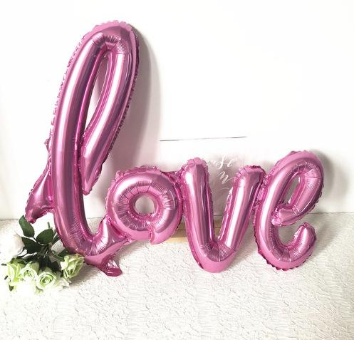 Valentine's Day confession Siamese LOVE aluminum film balloon Happy birthday rose gold balloon